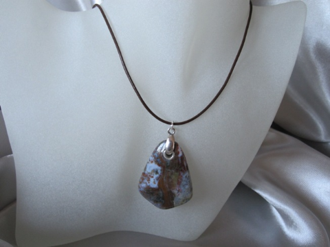 Unique Wooden Agate Browns & Grey Kite Pendant, Sterling Silver & Leather Necklace